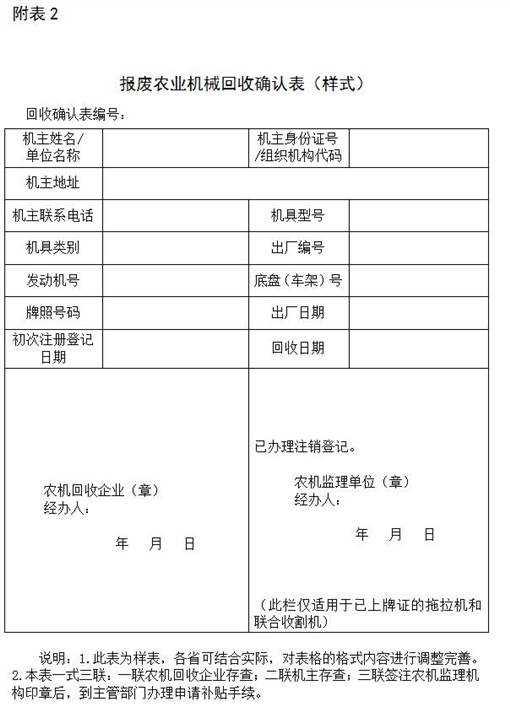 报废农业机械回收确认表